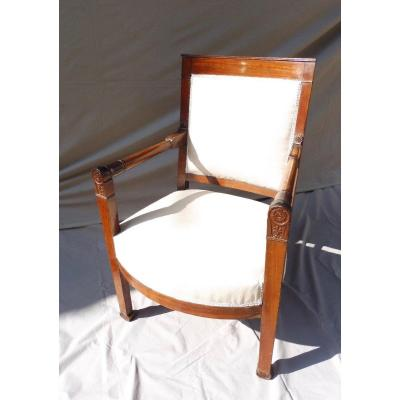 Chateau De Fontainebleau Mahogany Armchair Empire Consulate Period Stamped With Inventory  Number
