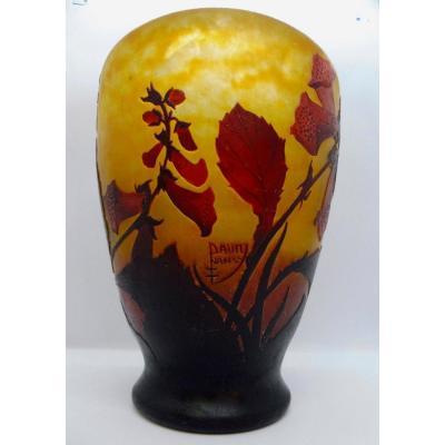 Daum Nancy Vase Art Nouveau Fleurs De Tabac En Verre Multi-couches Pâte de Verre Signé signature Croix de Lorraine hauteur 22cm