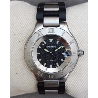 Cartier Montre Bracelet Automatique Autoscaph 21 Date Automatic Unisex Homme Dame Signé 37mm