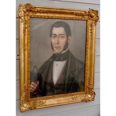 French School XIXth Louis-philippe Period 1830-1848 Pastel Potrait Man Dandy Holding His Cane