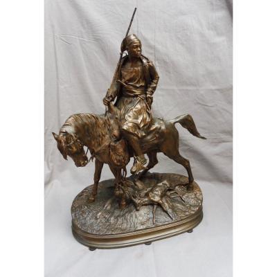 Pierre-jules Mêne (1810-1879) XIXth African Rider Hunter On Horse Bronze 19 Th 52 Cm