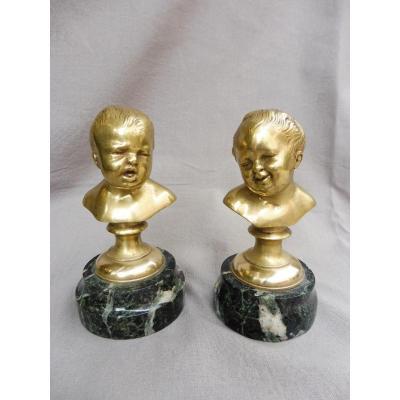 Houdon Jean-Antoine (1741-1828), D'après. Deux Bustes D'enfants Dits « Jean Qui Rit Et Jean Qui pleure bronze doré XIXème 19ème