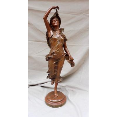 Nicolas Mayer 1852-1929 Bronze Sculpture Aurora Signed Foundry Société Des Bronzes De Paris XIXème