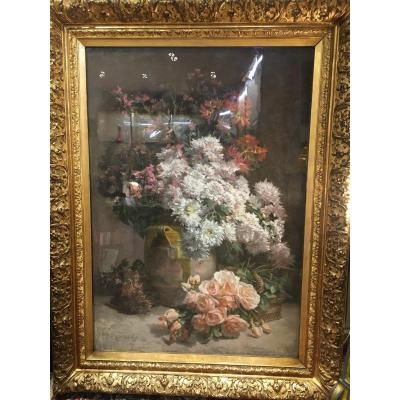 Pierre Bourgogne (1838-1904) Pastel Still Life Flowers In A Varnished Potiche Signed Dated 1893