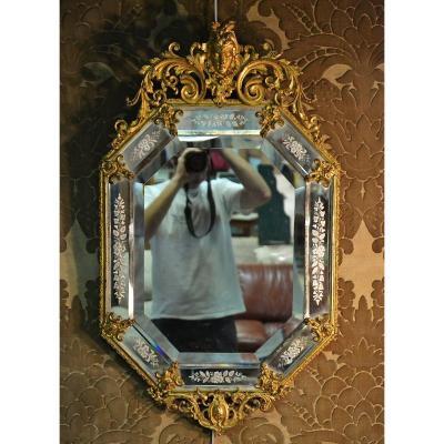 Miroir Vénitien Octogonal En Bronze Napoléon III