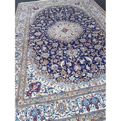 Grand tapis persan Naïn bleu nuit Laine & Soie