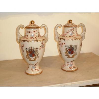 Paire De Vases En Porcelaine Compagnie Des Indes