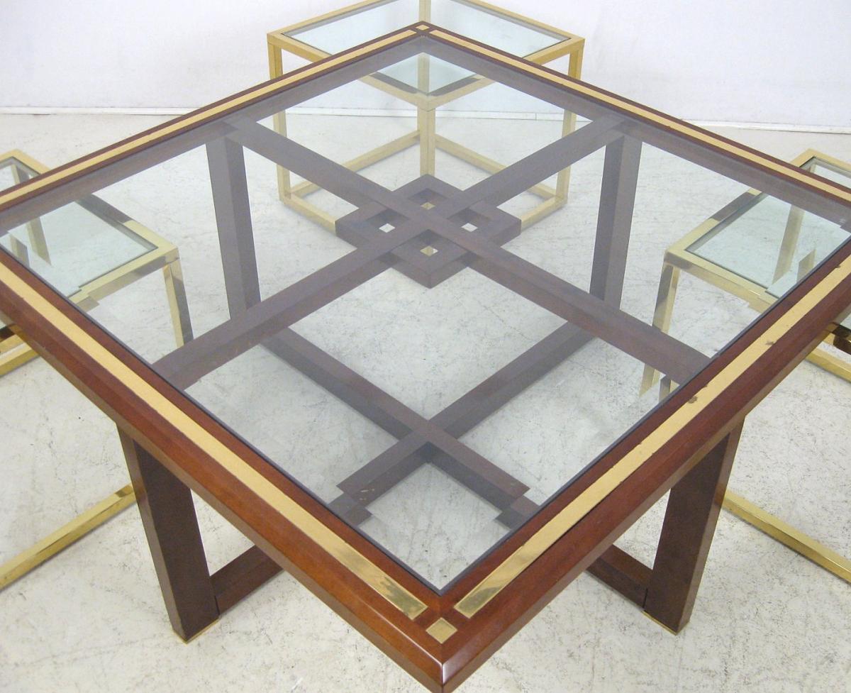 Table basse bois et laiton doré Avec 4 Bts. De Canapé Années 1970