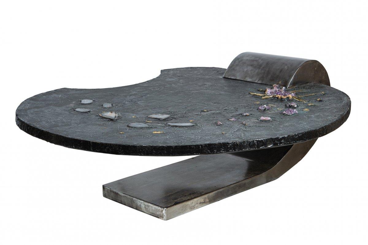 Incroyable Table Basse, Pièce Unique Signée De Alain  Meriaux circa 2000