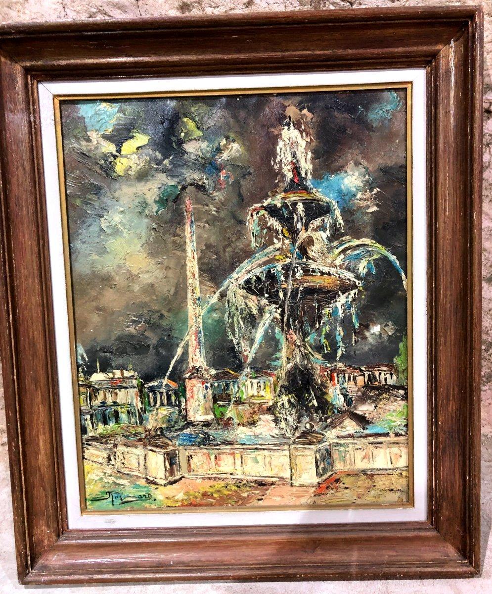 Painting Representing The Fountain Of The Place De La Concorde In Paris-photo-2