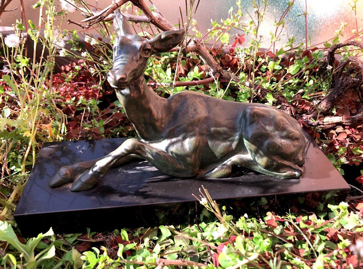 Sculpture De Biche En Bronze Signée Helber-photo-2