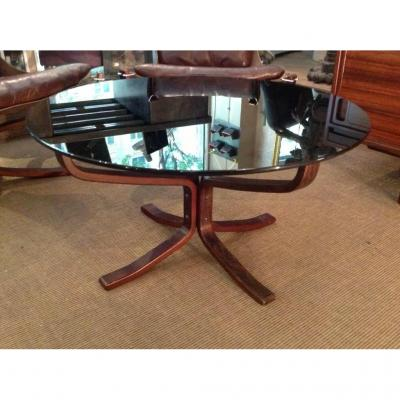 Table Basse Norvégienne, Pieds Bois, Plateau Rond En Verre Fumé Design Sigurd Ressel