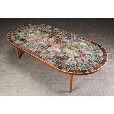 Rare Large Coffee Table In Tiles Engraved In Various Colors.