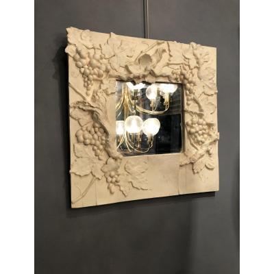 Miroir d'artiste en plâtre des années 1990
