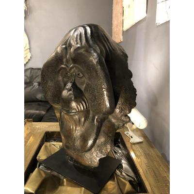 Bronze animalier. Fragment d' Orang Outan De FLORENCE JACQUESSON Signé, Numéroté 1/8 Et Cachet Du Fondeur BODIN.