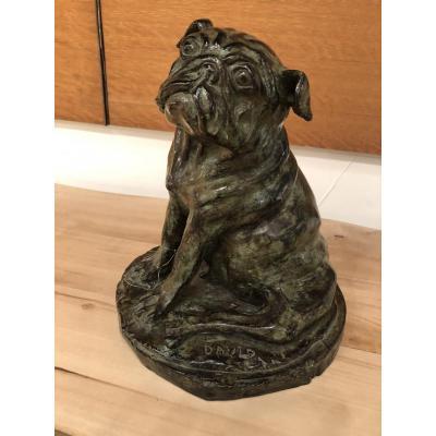Bronze Représentant Un Chien Carlin, Signé David, Numéroté 4/8, Cachet Du Fondeur