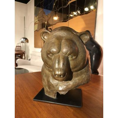 """Bronze From Florence Jacquesson """"brown Bear Head"""" Signed, Number 2/8, Luc Harzé Fondary"""