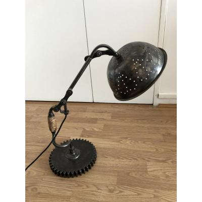 Industrial Table Lamp, Creation Of The Craft Artist Eric Sanchez, Unique Piece