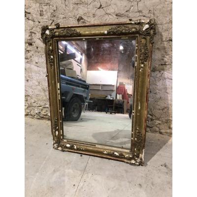 Miroir d'époque Restauration En Bois Stucké Doré XIXème Siècle