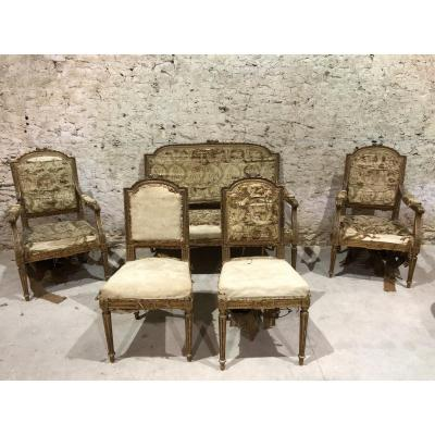Louis XVI Style Living Room In Carved Wood, Gilded Including 1 Sofa, 2 Armchairs, 2 Chairs