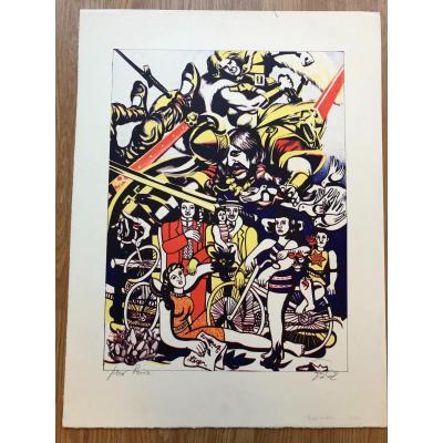 """Lithographie """"Hommage à Fernand Léger"""" De Goudmundur ERRO, épreuve d'artiste signée."""