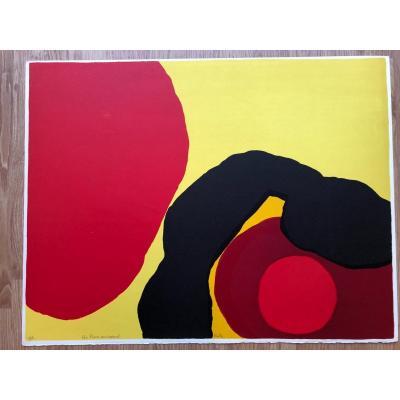 Lithographie Hors Commerce De Luis Feito Lopez Signée, Dédicacée Années 1970/80