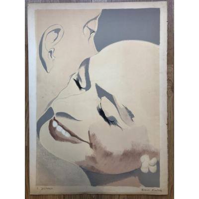 """""""Tête ã tête"""" Lithographie  Épreuve d'Artiste, Signée De Élisabeth Dujarric Années 1970/80"""