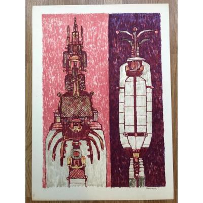 Lithographie Épreuve d'Artiste Signée De Pierre Courtin Années 1970/80