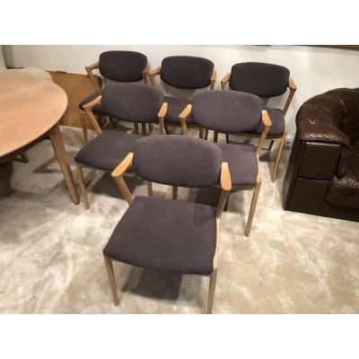 Série De 6 petits fauteuils Design Danois Années 1960 De Kai Kristiansen En Chêne Clair Massif