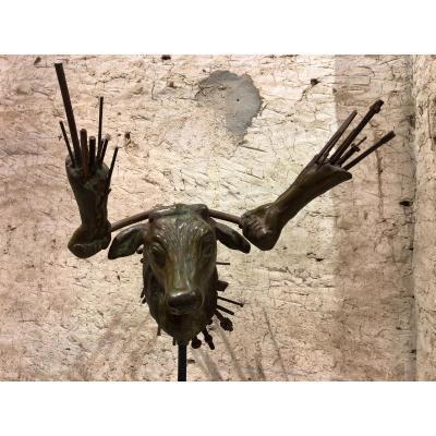 TAUREAU-MANIE, Tête De Taureau En Matèriaux Composites Divers, Sculpture Pièce Unique