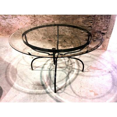 Wrought Iron And Brass Base Dining Table, Glass Top., 1980s