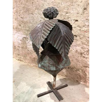 Sculpture Floral En Laiton De Jean Paul Van Lith