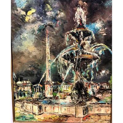 Painting Representing The Fountain Of The Place De La Concorde In Paris