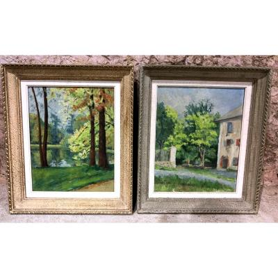 Pair Of Landscape Oil On Panel, Signed And Framed