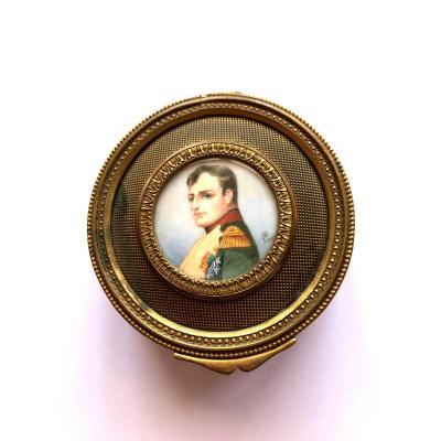 Boîte Napoléon En Laiton Doré