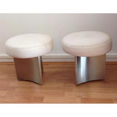 Pair Of Stainless Steel And Leather Stools From The 1970s