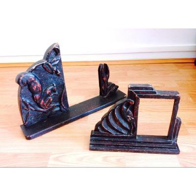 2 originaux Cadres Photos 1930 En Bois Sculpté Patiné