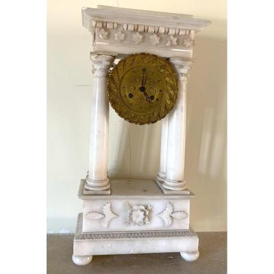 Pendule Portique XIXÈme En Albâtre