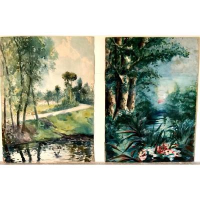 Deux Aquarelles gouachées représentant des Paysages