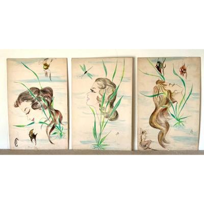 Trois Aquarelles De Jeunes Femmes Parmi Les Poissons…