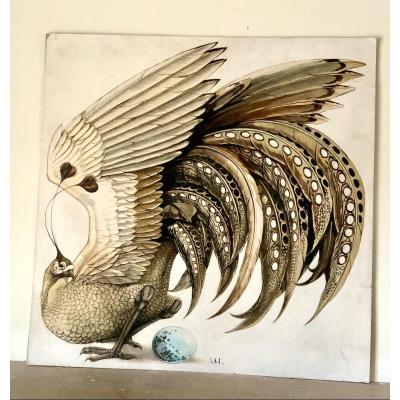 Bel Oiseau Probablement Imaginaire, Genre De Paon ! Aquarelle, encre et gouache.