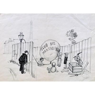 4 Caricatures à l'encre de Chine «atelier L. Peltier»