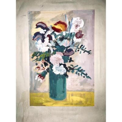 Peinture Sur Carton «bouquet De Fleurs» école Française Années 1960/80