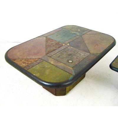 Table Basse début des années 1990 En Marqueterie De Pierre Et Laiton.