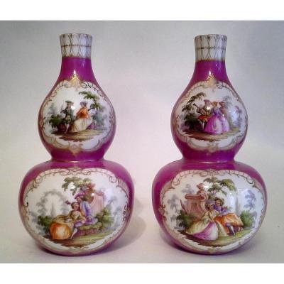 """Paire De Vases Double Gourde """"augustus Rex"""""""