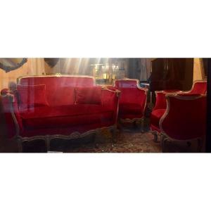 Salon Baroque Italien Début 19 ème un canapé & 2 fauteuils