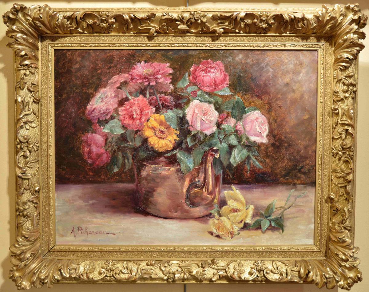 A. Pichereau. Bouquet De Roses Et Zygnas A La Verseuse En Cuivre.