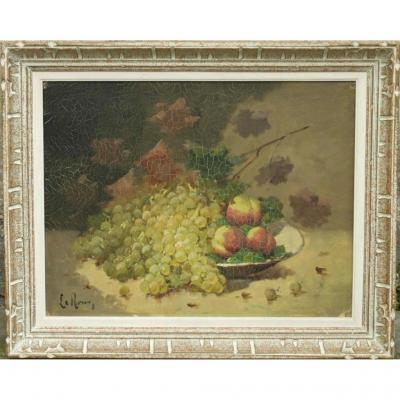Still Life With Grapes And Peaches. Leroux For Brunel De Neuville.