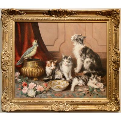 The Kittens, Their Mother And The Parjules ;   Peinted By Jules Leroy (1853 - 1922)