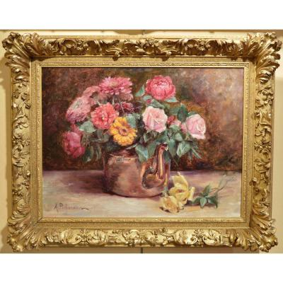A. Pichereau. Bouquet Of Roses And A Zygnas The Copper Jug.
